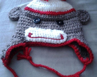 Crocheted Sock Monkey Hat