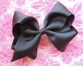 "Black Oversized Hair Bow, 5"" Boutique Bow, Girls Hair Bow, Halloween"
