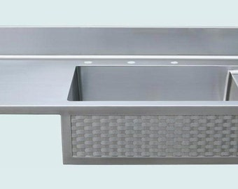 Popular items for integral sink on etsy for Stainless steel countertop with integral sink