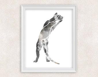Cat Watercolor Print - Gift For Cat Lover - 8x10 Wall Art - Home Decor 8x10 PRINT - Item #701B