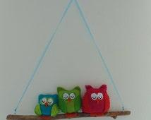 handmade mobile 'sleeping owls'