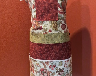 Apron in Burgundy and Sage