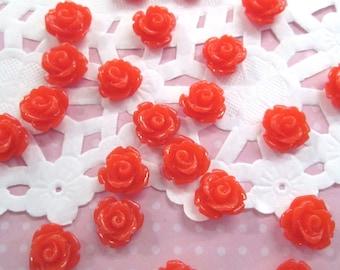Orange Red 10mm rose flower cabochons, cute flower cabs