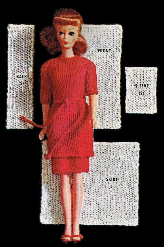Barbie Basics Knitting Patterns : Vintage knitting pattern barbie doll size inches tunic