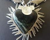 Private Reserve for NCW Stainless Steel and Jade Heart Necklace