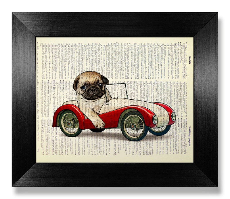 PUG Art KID Room Decor BOY Nursery Art Animal Print Dog