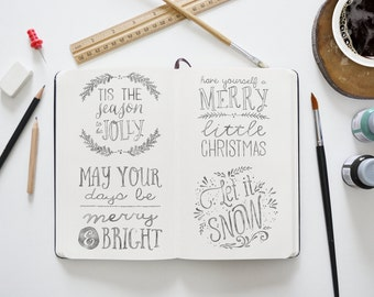 Watercolor Christmas Clipart Overlays - 32 Transparent High Resolution PNG files Plus EPS Vector File