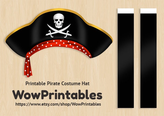 Pirate costume hat printable download download easy to for Diy pirate hat template