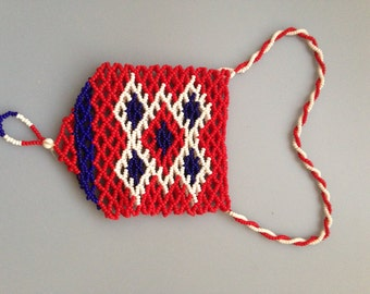 Vintage Beaded Pouch, Red White and Blue, Authentic Native American Beadwork, Native American Jewelry