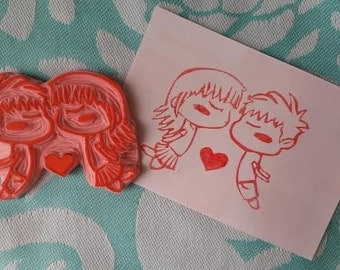 Handmade/Carved Rubber Stamps Cute Kissing Anime Couple
