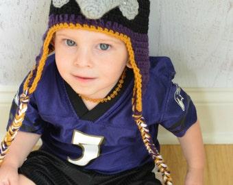 Baltimore Ravens hat, crochet mascot Poe, custom size!