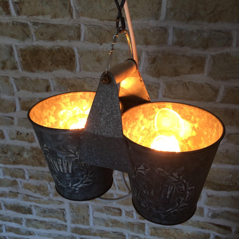 Funky Rustic Galvanized Pendant Light Via Etsy: Vintage Light Bucket Light Upcycled Light Upcycled Lamp