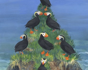 Puffin Tree Christmas or Holiday Card with envelope packet of 12