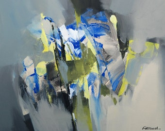 Painting Gray Yellow Blue Black Abstract Painting Modern Painting Original Painting