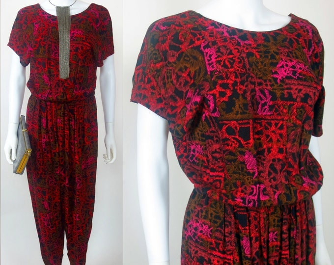 70s Abstract tribal printed rayon elastic waist jumpsuit
