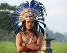 blue indian headdress, native american war bonnet, feather costume