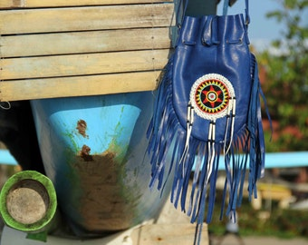indian american inspired leather bag ,gypsie festival bag, boho bag, bohemian , fringed  bag