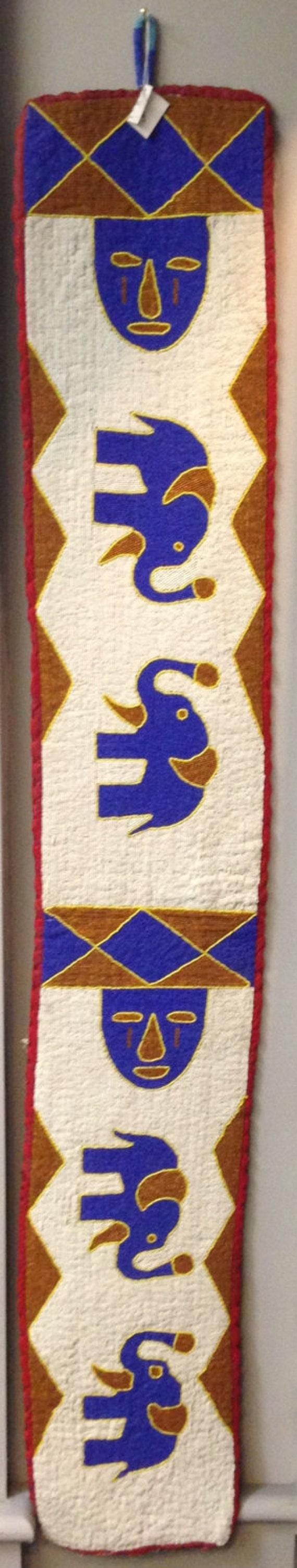 Belt Yoruba Hand Beaded Diviner Belts Nigeria Sash Handmade Red Blue Beaded Belts Diviner Belt Faces Animals Ceremonial Belt Home  Decor
