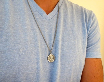 Men's Necklace - Men's Coin Necklace - Men's Silver Necklace - Mens Jewelry - Necklaces For Men - Jewelry For Men - Gift for Him