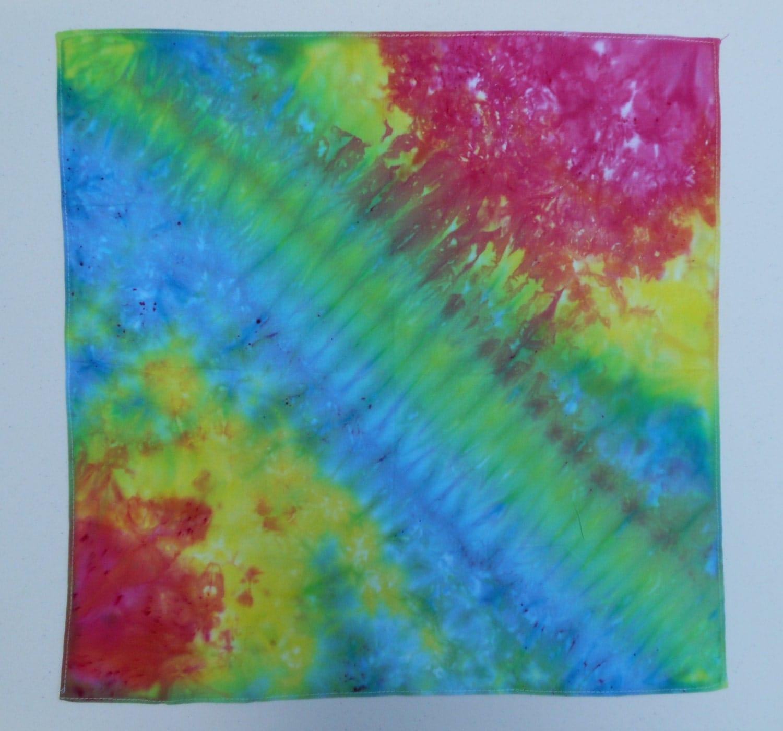 tie dye bandana handkerchief wall hang rainbow by