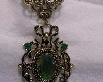 Beautiful Greens  Victorian Inspired Necklace = N 115