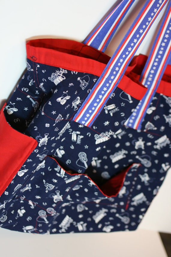 Large women's tote, book bag, purse. red white blue large tote. cowboy print with key hook