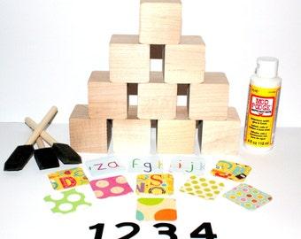 Children's Wooden Baby Blocks - Numbers 1-10 - DIY Baby Shower Craft - 2 Inch All Hardwood Blocks