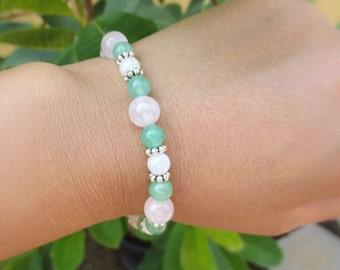 Good Luck Baby Fertility Bracelet - Green Aventurine, Moonstone, Rose quartz