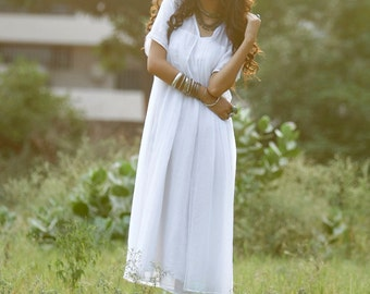 White pure cotton layered boho dress