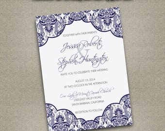 Printable Wedding  Printable Wedding Invitation ONLY PDF Instant Download - Traditional Damask Pattern Navy Blue (Choose Your Text Colors!)