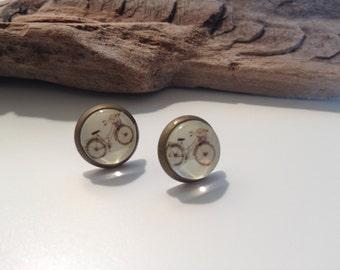 Bicycle Post Earrings. Antique Bronze Stud Earrings. Ear stud. vintage Bike Earrings. (#024)