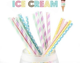 25 Multipack Ice cream color  paper straws,Blue,Purple,Pink,Yellow,Mint paper straws,5 Designs,party  paper straws.wedding paper straws
