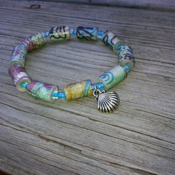paper bead bracelet flat the sea by thepaperhummingbird1