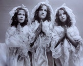 Child Bedtime Prayers // Antique glossy real photo postcard of sweet little girls saying their prayers // Charming Christian photography