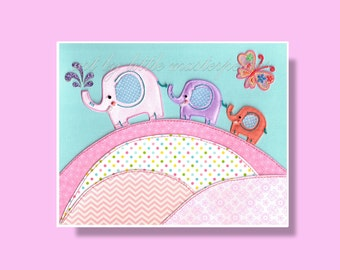 Elephant nursery wall art, 8x10 stitched paper art print, elpephant art, nursery decor, girls room decor, girls nursery art