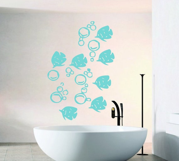 fish wall decals sea animals fish bubbles by decalmyhappyshop. Black Bedroom Furniture Sets. Home Design Ideas