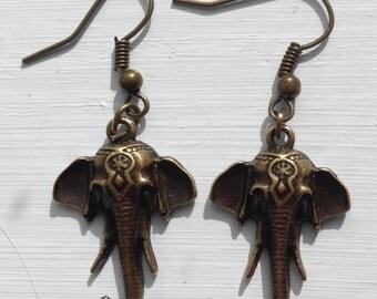 Antique bronze elephant head earrings
