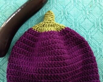 Crochet Eggplant Hat, Eggplant Beanie Hat, Children Crochet Hats, Vegetable Hats, Purple Hats, Adult Hats