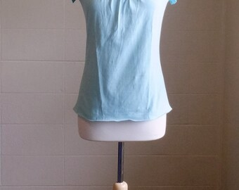 Size Small t-shirt Aqua Short Sleeve shirt, basic cotton top, raglan cap sleeve, embellished blouse - Little Bits Tee - Ready to Ship