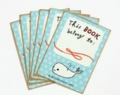 Whale Book Stickers - Ex Libris Bookplate, Exlibris Childrens Bookplates, Baby Bookplates, Whale Baby Shower Favors for Boys