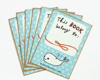 childrens bookplates, baby bookplate, exlibris, boy book plate, children's ex libris, whale baby shower bookplate stickers whale party favor