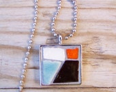 Mosaic Square Art Pendant with Chain Abstract