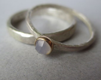 Ring Set.  Sterling Silver and 14k Gold. Lavender Blue Rose-Cut Chalcedony.  Wedding Set. Satin Matte Finish