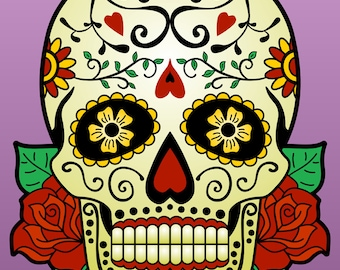Sugar Skull with Roses Day of the Dead Muerto Design Color Pop Art Print