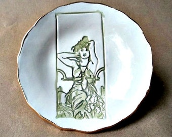 Art Nouveau  Ceramic Trinket Dish edged in gold
