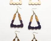 Triangle Doorknocker Earrings/ Bright Painted Wood Earrings/ Big Dipped Earrings