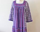 Violet Florals Dress. S-M