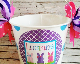 Polka Dot Girl Bunnies Easter Pail