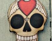 Winged Heart Sugar Skull Tattoo Ornament - Original Folk Art Skeleton- Printed and Stuffed Fabric