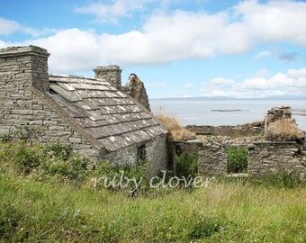 Cottage Ruin, Doonagare, Co. CLARE, Ireland, DOOLIN, Beautiful Irish Countryside, Ireland Photo,Sunny Day Landscape, Blue Skies, Irish Ruin